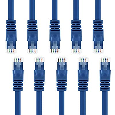 GearIT 100-Pack, Cat 6 Ethernet Cable Cat6 Snagless Patch 1 Foot - Snagless RJ45 Computer LAN Network Cord, Blue - Compatible with 5 Port Switch POE 5port Gigabit