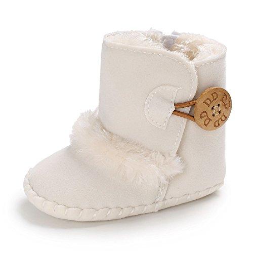 Meeshine Winter Warm Baby Boots Premium Soft Sole Prewalker Newborn Infant Boy Girl Crib Shoes Snow Boots(Medium/6-12 Months,White 01)