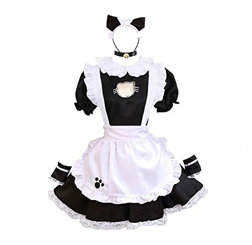 BellaPunk Damen French Maid Costume Dress kostüm Sexy Lolita Kleid Cosplay Uniform Schwarz 4 pcs (5XL, Katze (Schwarz))