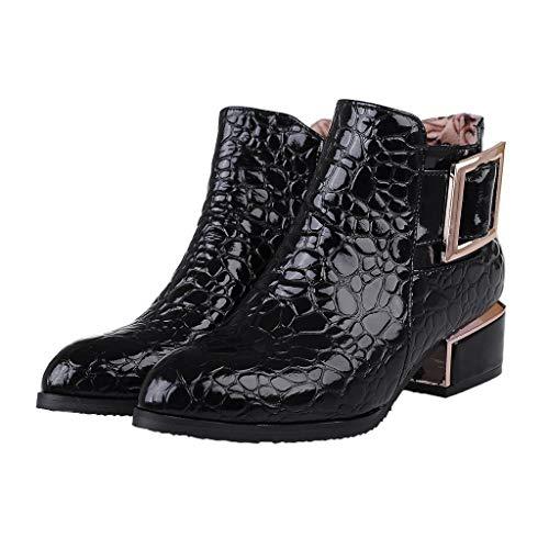 POLP Botines Mujer de Tacón 5.5 cm Otoño Invierno Zapatos de Charol Botas Cortas Puntiagudas Británicas para Mujer Botines de de Vestir Botas Cortas de Viento Punta Zapatos de Tacón
