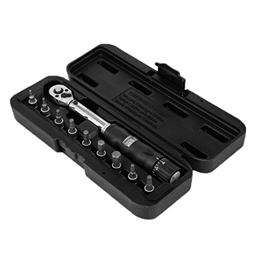 SGZYJ Llave dinamométrica de 1/4' 2-14Nm Drive Click Llave de mano + 9 puntas + caja de herramientas de bicicleta
