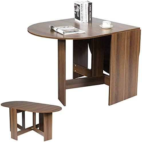 RELAX4LIFE Esstisch Klapptisch, Küchentisch Klappbar, Esszimmertisch 60 kg belastbar, Faltbarer Konsolentisch aus Holz, Kaffetisch für 6 Personnen, Beistelltisch für Esszimmer & Küche & Büro, braun