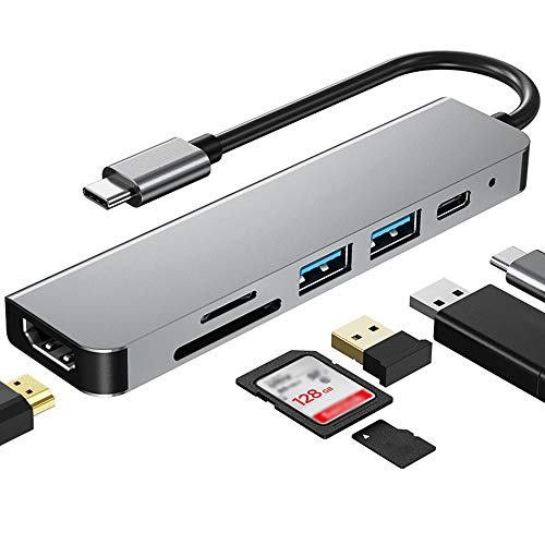 USB C Hub 6 in 1 USB C Adapter USB C to HDMI Adapter with SD/TF Card Reader, 2 USB 2.0/3.0 Ports, 87W Power Delivery Compatible with Macbook Pro, MiniMacBook Air, Huawei, Xiaomi, Samsung Laptop ect
