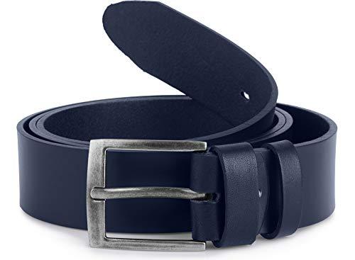 Ladeheid Herren Gürtel Ledergürtel Überlänge L11(Marineblau-2 (4 cm), 150 cm x 4 cm (Gesamtlänge 167,5 cm))