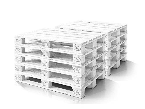 moebel-eins Europalette 10er Set Flachpalette Palette Neuware Holzpalette 120x80 cm Weiss