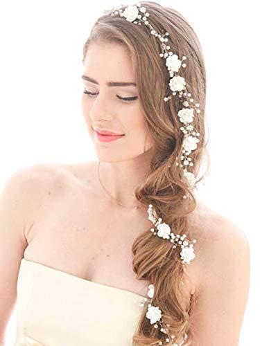 Aukmla Hochzeit Haar Rebe lange weiße Blume Gold Braut Hochzeit Stirnband für Braut und Brautjungfern (Gold)