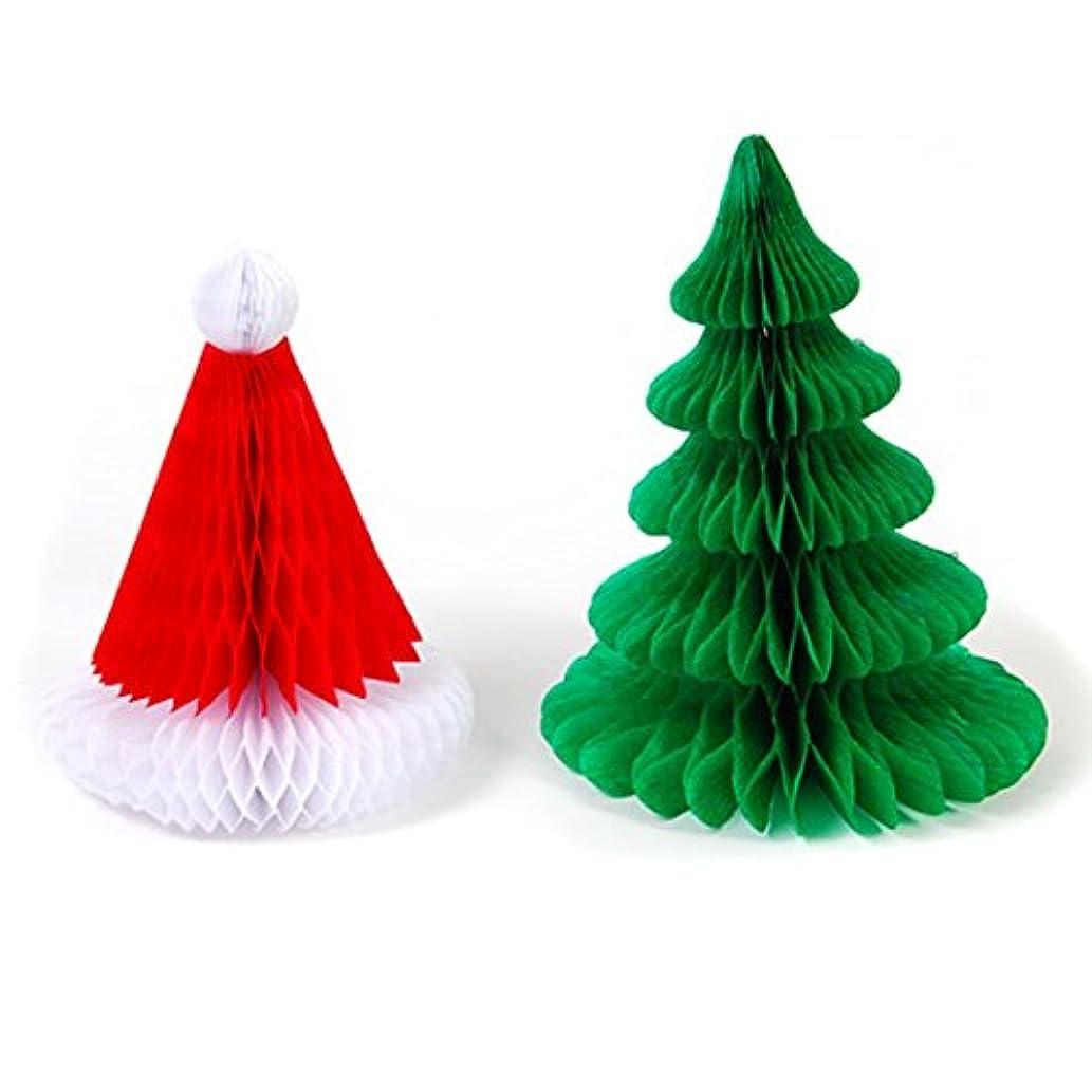 Santa Hat and Christmas Tree Honeycomb Table Decoration, Set of 2