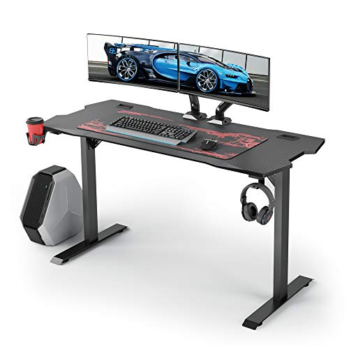 GALAXHERO Gaming Desk, 55 inch Computer Gamer Desk with Free Mouse pad, T-Shaped Professional Computer Station with Carbon Fiber Desktop and Cable Management, Black