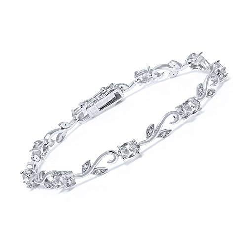 Gem Stone King 925 Sterling Silver White Topaz and Diamond Greek Vine Tennis Bracelet For Women (5.53 Ct Oval 7 Inch)