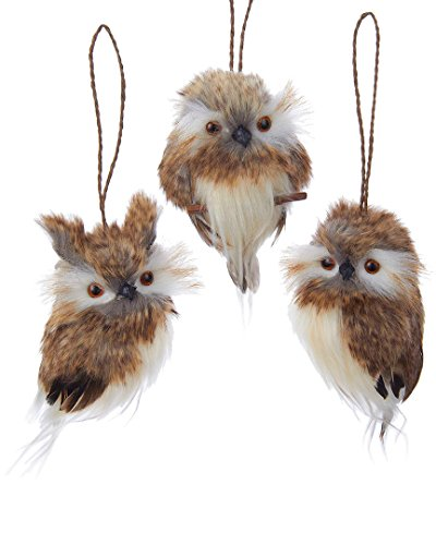 Kurt Adler 4' Brown Hanging Owl Ornament Set