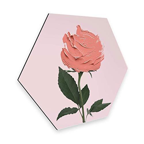 Hexagon - Alu-Dibond - Paul Fuentes - Rose Schilderij Rose Fotokunst digitale art Muurschildering Zeshoekige bloem bladeren bloemen kunst met muurbeugel Wall-Art 35x30 cm roze