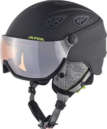 ALPINA Unisex - Erwachsene, GRAP VISOR 2.0 HM Skihelm, charcoal-neon matt, 57-61 cm