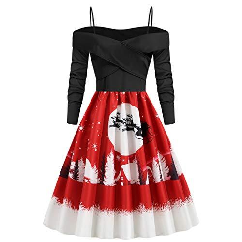 Damen Weihnachten Kleider Mode Kostüm Rundhals Langarm Freizeit Abendkleid Sexy Schulter Partykleid Für Cosplay Karneval Festival showsing (M/Büste:90cm/35.43'', C/Schwarz)