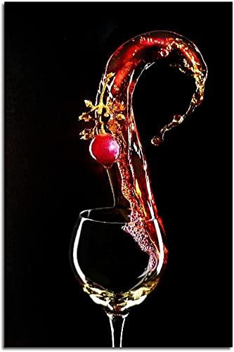 WZRY - Impresión sobre lienzo de alta definición, copas de vino, póster moderno, minimalista, lienzo de pintura artística para cocina, comedor, bar, decoración romántica, regalo (60 x 90 cm)