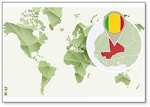 Kühlschrankmagnet Weltkarte mit Mali & Flagge