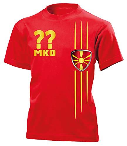 Mazedonien Macedonia Wunsch Zahl Fanshirt Fussball Fußball Trikot Look Jersey Kinder Kids Unisex t Shirt Tshirt t-Shirt Fan Fanartikel Outfit Bekleidung Oberteil Hemd Artikel