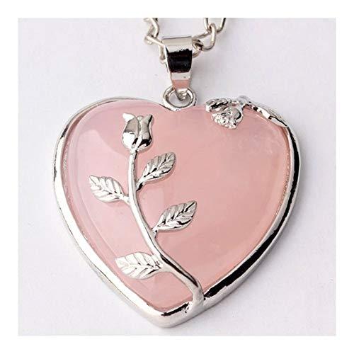 YUANYUAN520 Moda Perlas romántico Natural Rosa Rosa de Amor del Corazón Colgante de Cuarzo con la Flor joyería Elegante de Las Mujeres Joyería