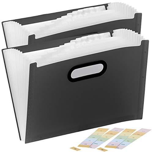 General Office Cartella a scomparti: Cartella in plastica con 13 scomparti, Registrati e gestisci, nero (cartella Con Fan)