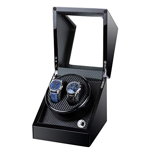 Kalawen Double Wooden Watch Winder for Automatic with Quiet Motor, Battery Powered or AC Adapter-5 Rotation Modes (Black)