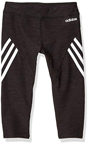adidas Girls' Big Active Sports Athletic 7/8 Length Legging Tight, Core Black Heather/White, Large