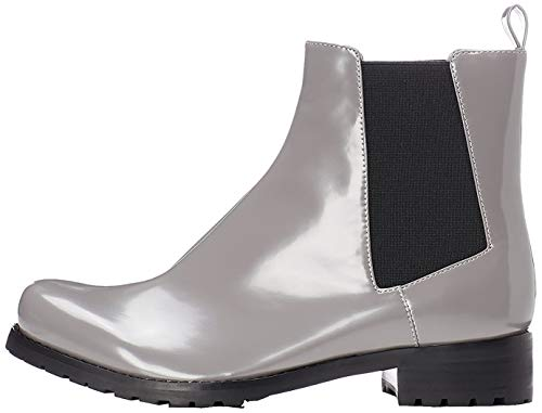 find. Boots Damen in Lackleder-Optik mit asymmetrischer Naht, Grau (Grey), 38 EU