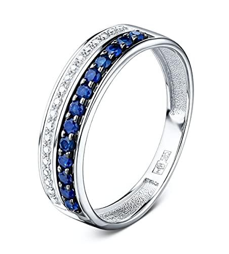 Anillo de oro blanco de 14 quilates (585), diamantes y zafiros azules de Australia (hasta 1,26 ct). Tallas 15,5 – 18 (48 – 56).