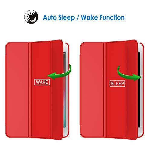 JETech Hülle Kompatibel mit iPad Mini 5 (2019 Modell 5. Generation), Intelligent Schutzhülle mit Auto Schlafen/Wachen (Rot)