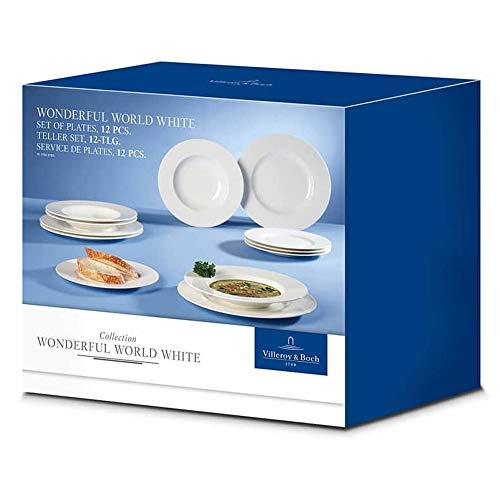 Villeroy & Boch Wonderful World White Set Tavola, 12 Pezzi, Porcellana, Bianco, unità