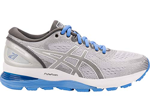 ASICS Women's Gel-Nimbus 21 Running Shoes, 9.5M, MID Grey/Dark Grey