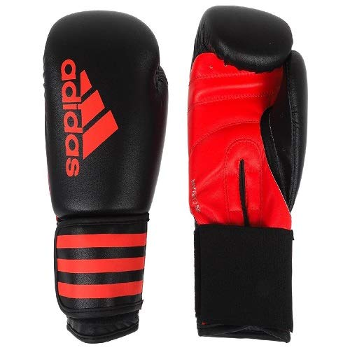 adidas Erwachsene Hybrid 50 adiH50 Boxhandschuhe, Schwarz/ Rot, 10 oz
