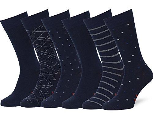 Easton Marlowe 6 PR Calcetines Sutilmente Estampados Hombre - 6pk #4-5, Azul - 43-46 talla de calzado UE