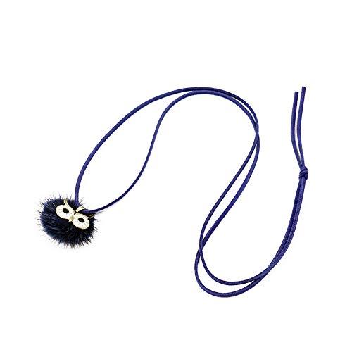 Gaoguan - Collar con colgante de bola de piel de búho para mujer, elegante cadena de chupito larga bola pompón