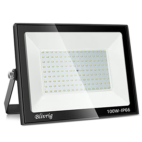 100W Faretto LED da Esterno, Blivrig 10000LM Proiettore Faro LED, Bianco Freddo 6000K ,Impermeabile IP66 Fari LED Lampada Luce di Sicurezza Potente Super Luminosa per Giardino Corridoio Cortile