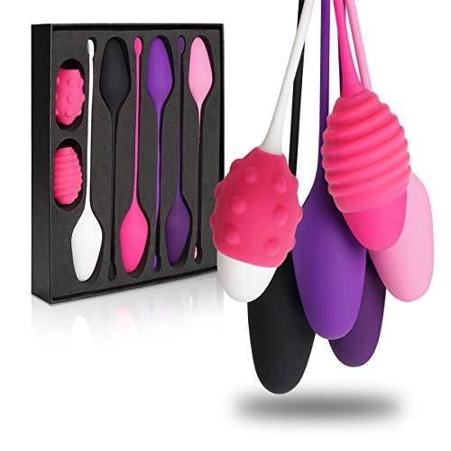 YUECHAO Kegel Weights – Set di 6 Premium silicone palline vaginali Kegel – per training – vaginale rafforzare i muscoli del pavimento pelvico – impermeabile – 30 g a 150 g
