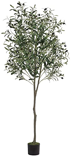 VIAGDO Artificial Olive Tree 6ft(70in) Tall Fake Potted Olive Silk Tree with Planter Large Faux Olive Branches and Fruits Artificial Tree for Modern Home Office Living Room Decor Indoor, 1176 Leaves