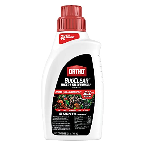 Ortho BugClear Insect Killer for Lawns and Landscapes Concentrate - Kills Ants, Ticks, Armyworms, Mosquitoes, Fleas and Spiders in Your Yard, Starts Killing Within Minutes, Odor Free, 32 oz.