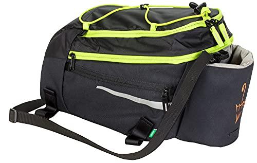 VAUDE Silkroad L Fahrradtasche Gepäckträgertasche 9+2l (Black-Lime SE, Einheitsgröße)