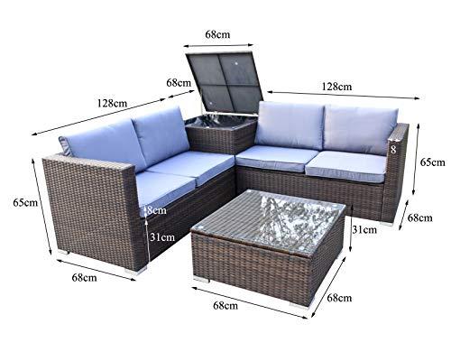 Enjoy Fit Rattan Polyrattan Lounge Sitzgruppe Garnitur Gartenmöbel aus 4 Sitze Sofa, Aufbewahrungsbox für Kissen - 3