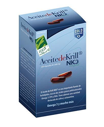 100 Natural Aceite Krill NKO Caja, 120 Cápsulas de 500 Miligramos En Blíster