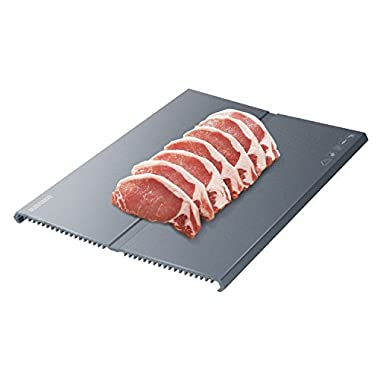 Nuovoware Fast Defrost Tray, Premium HDF Aeronautical Aluminum Alloy Thawing Plate, Thaw Frozen Meat or Food Quickly and Safely without Electricity, Microwave, Hot Water or Any Other Tools, Black