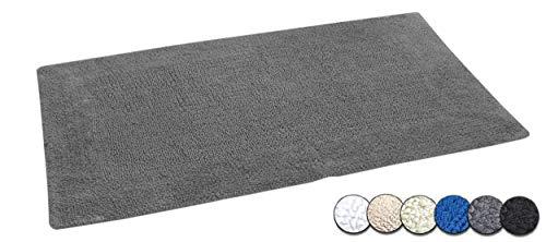 Casalanas | Modell Fontechiari | doppelseitiger Badteppich | Schwerer Badvorleger | Badematte aus 100% Natur-Baumwolle | Bade-Matte 120x70cm | Badezimmerteppich in Farbe Grau