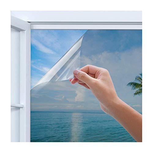 Rhodesy Spiegelfolie Selbstklebend Sichtschutz, Reflektierende Fensterfolie Wärmeisolierung Sonnenschutzfolie UV-Schutz Fensterfolie Silber 90 x 200 cm