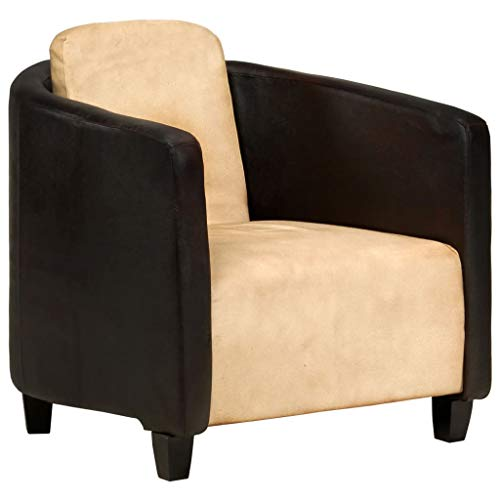 vidaXL Sessel Sofa Relaxsessel Einzelsofa Lounge Polstersofa Polstersessel Ruhesessel Ledersofa Ledersessel Hellbraun Schwarz Echtleder