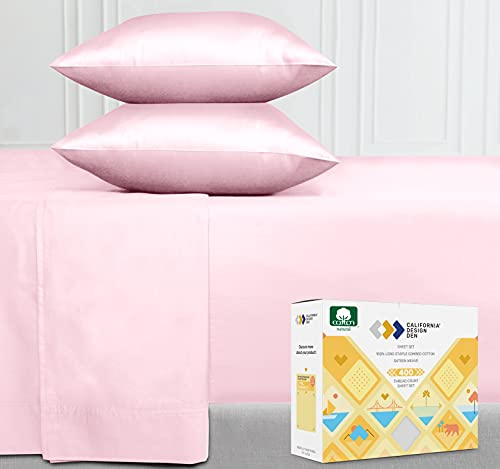 Best Luxury 400-Thread-Count 100% Cotton Sheet Set, Pink Queen Sheets, 4-Piece Long-Staple Combed Pure Cotton Bedsheet for Bed, Soft & Silky Sateen Sheets Fits Mattress 16 Deep Pocket
