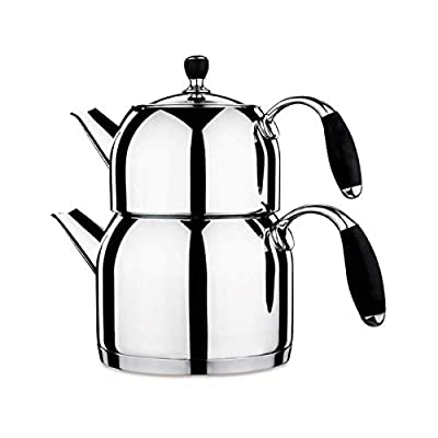 Korkmaz Flora Maxi Capsulated Turkish Tea Pot Set With Tempered Glass Lid - 1.1 & 2 Quart