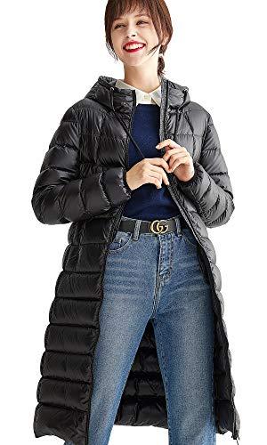 VUTOLEE L03 - Chaqueta de plumón Ligera para Mujer, Ultraligera, Plegable, plumón Largo - Negro - 36 ES/38 ES/S Hombro 40 cm,Busto 98 cm