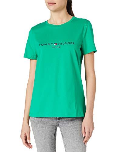 Tommy Hilfiger Th Ess Hilfiger C-nk Reg Tee Ss, Camiseta sin mangas Mujer, Verde, M