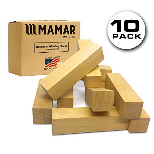 MAMAR Natural Basswood Carving Blocks - 10 Large Pieces Unfinished Polished - Premium Whittling Balsa Wood Block Tools Kit - 1 x 1 x 4 inches - Ideal for Beginners, Kids, Advanced, Hobby, DIY