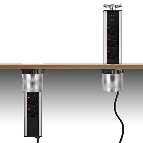 DAZONE - Ciabatta multipresa da incasso, piano di lavoro con 3 prese di corrente, 2 USB, con cavo da 1,8 m, diametro 80 mm, norma francese, per tavolo da ufficio, cucina, colore cromato