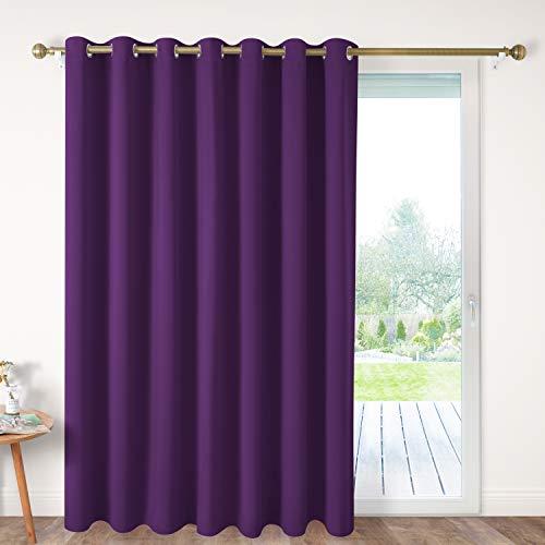 HOMEIDEAS Blackout Patio Door Curtain Panel Wide 100 x 84 Inch Long Purple Thermal Sliding Door Darkening Curtain Extra Wide Window Grommet Curtain/Drape for Living Room, 1 Panel